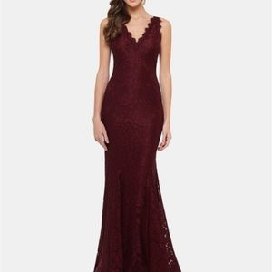 Betsy and Adam burgundy gown